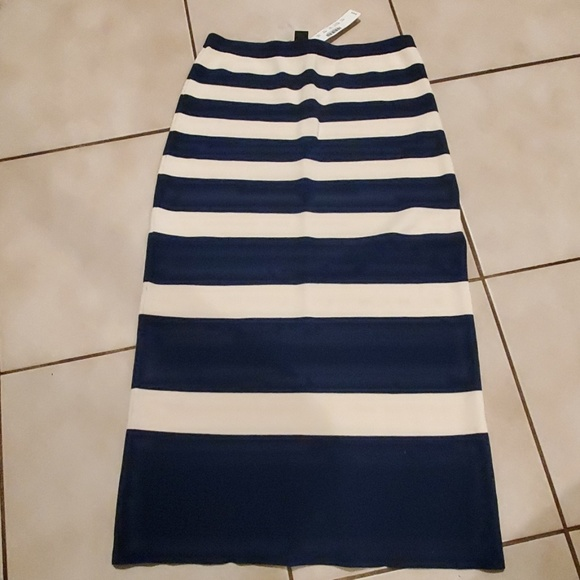 J. Crew Dresses & Skirts - J.Crew Collection Cream and Navy Stripe Skirt